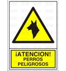 """SEÑAL """"PERROS PELIGROSOS """"34X24CM"""