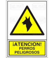 SEÑAL PERROS PELIGROSOS 14X10CM PVC ADH.