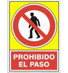 SEÑAL PROHIBIDO PASO 14X10 PL/AD