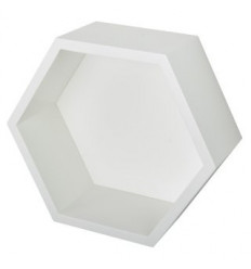 ESTANTE HEXAGONO 27X27X12CM 15MM BLANCO