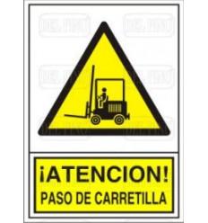 CARTEL PELIGRO PASO CARRETILLA 34X24cm