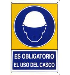 CARTEL USO OBLIGATORIO CASCO 34X25CM