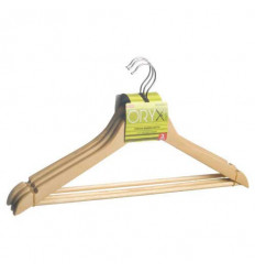 PERCHA MADERA RECTA 45CM PACK 3